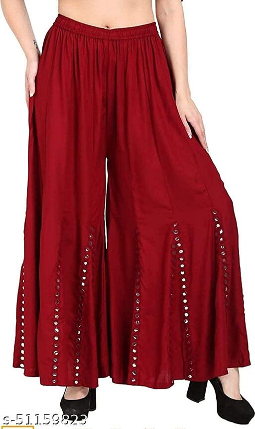 Rayon Sharara with Mirror Embroidery work for Women & Girl (Free Size)