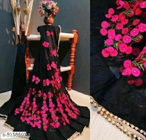 flower work saree with pearl border black