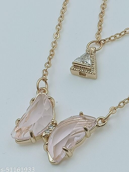 Cute Pink Butterfly Neckless Chain and entic Pendent For Women And Girls