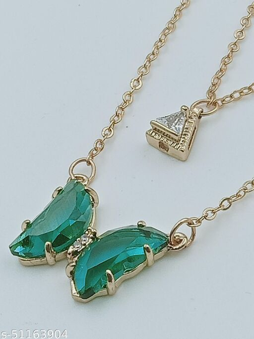 Stylish Green Crystal Butterfly Neckless Chain and entic Pendent For Women And Girls