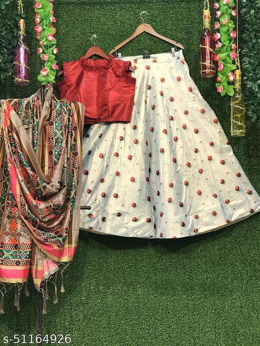 SIX SIGMA Zari Satin Festival Special Lehenga Choli with Assam Silk Digital Printed Dupatta and Jaquard Butti Blouse