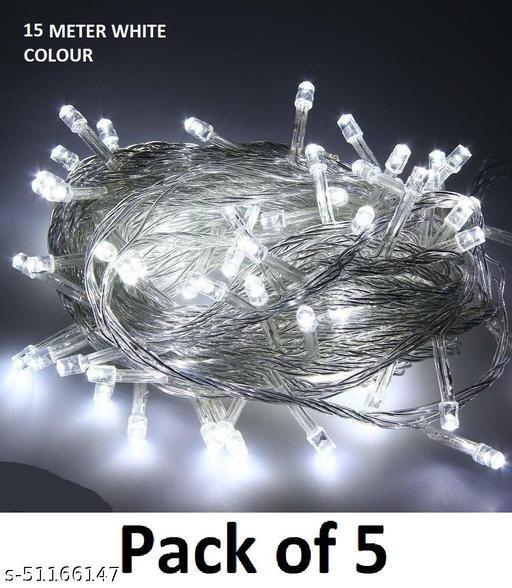 White Color Light for Indoor & Outdoor Decorating, Diwali Decorative Festival Lights - 15 Meter (Set of 5)