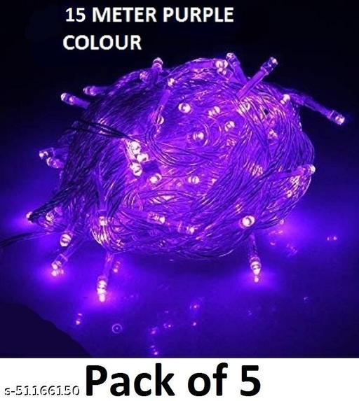 Purple Color Light for Indoor & Outdoor Decorating, Diwali Decorative Festival Lights - 15 Meter (Set of 5)