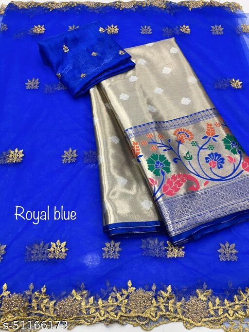 RED CLOUD NEW HALF SAREE LEHGHA CHOLI(Pure tissue paitani weaving Lehangas ,with contrast blouse and contrast cut work voni)