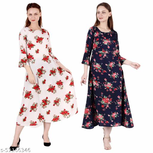 CINDERELLA THE CREATIONS FACTORY A Line Dress with Inner Cotton Lining Cream Printed and Nevy Blue Printed Pack of 2