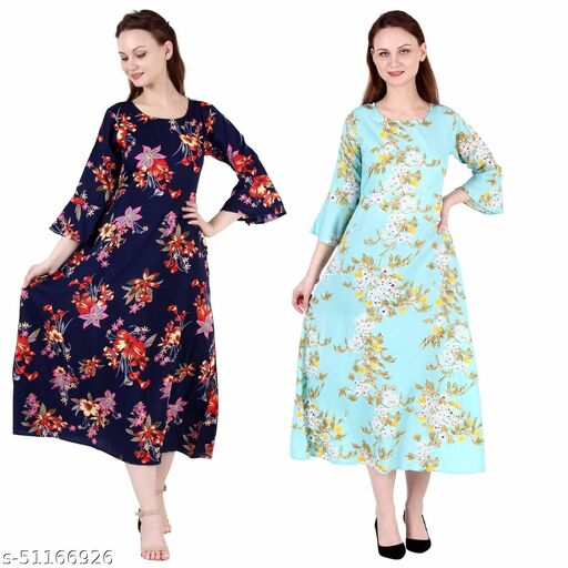 CINDERELLA THE CREATIONS FACTORY A Line Dress with Inner Cotton Lining Nevy Printed and See Green Printed Pack of 2
