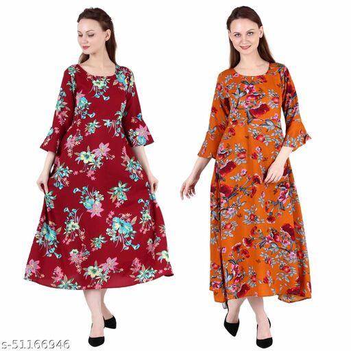 CINDERELLA THE CREATIONS FACTORY A Line Dress with Inner Cotton Lining Maroon Prined and Orange Printed Pack of 2