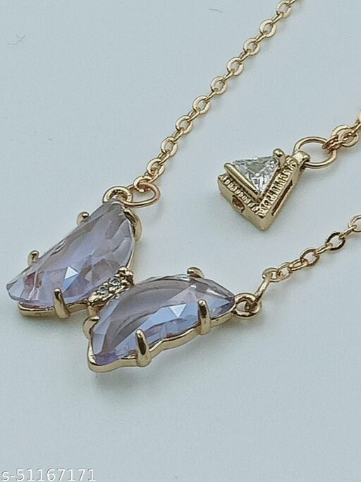 Stunning Purple Butterfly Neckless Chain and entic Pendent For Women And Girls