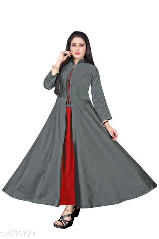 Solid Grey Maxi Taffeta Silk Dress