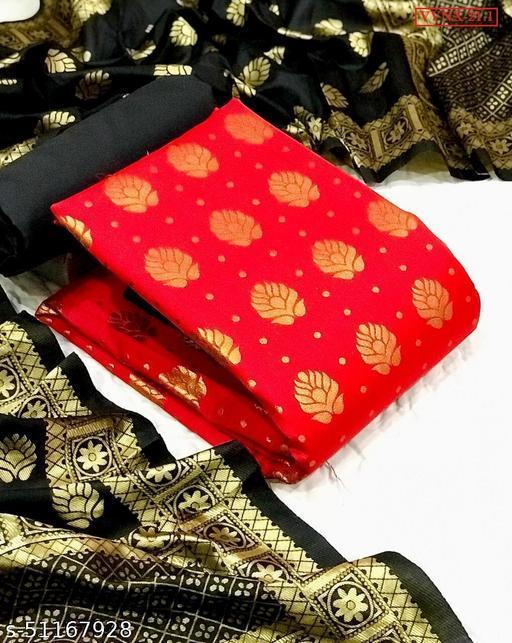 Vrindavrihas Banarasi jacquard Dress Material Suit  For Women