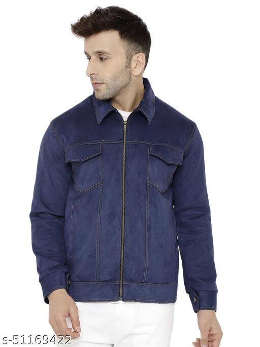 CHKOKKO Men Collar Neck Full Zipper Jackets