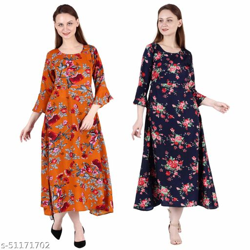 CINDERELLA THE CREATIONS FACTORY A Line Dress with Inner Cotton Lining Orange Printed and Nevy Blue Printed Pack of 2