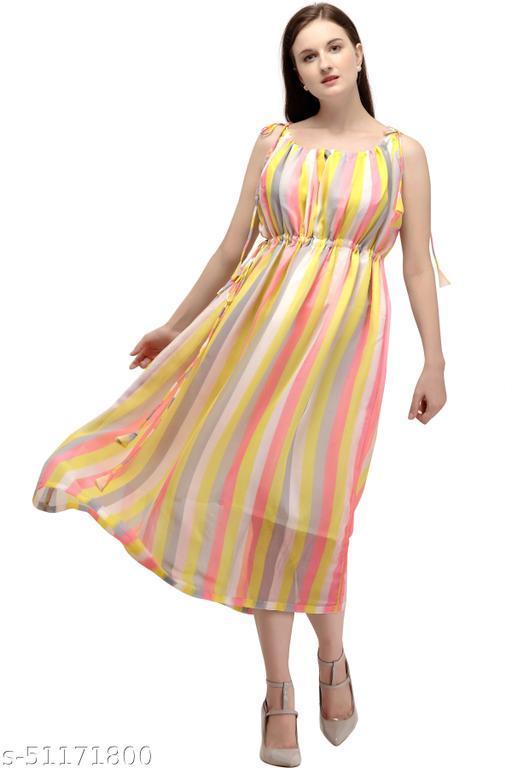 Latest Women Maxi Multicolor Western Wear Dress