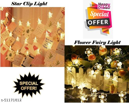 ARNAH TREASURE Diwali , Christmas Special Combo Offer Star Clip Light WITH Flower Fairy String Lights for Diwali ,Christmas Wedding  Home Decoration (Star clip light + Flower Light)