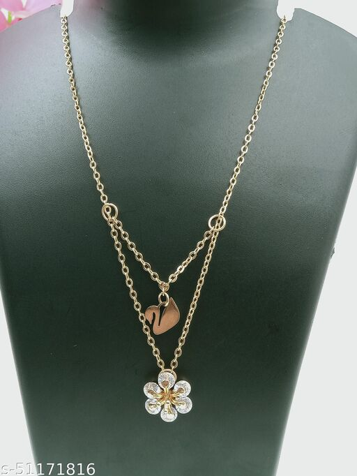 Attaractive Steel Swan Duk Neckless Rose Gold Chain and Pendent For Women And Girls