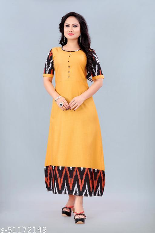 Women's Ikkat Printed Kurti (Yellow)