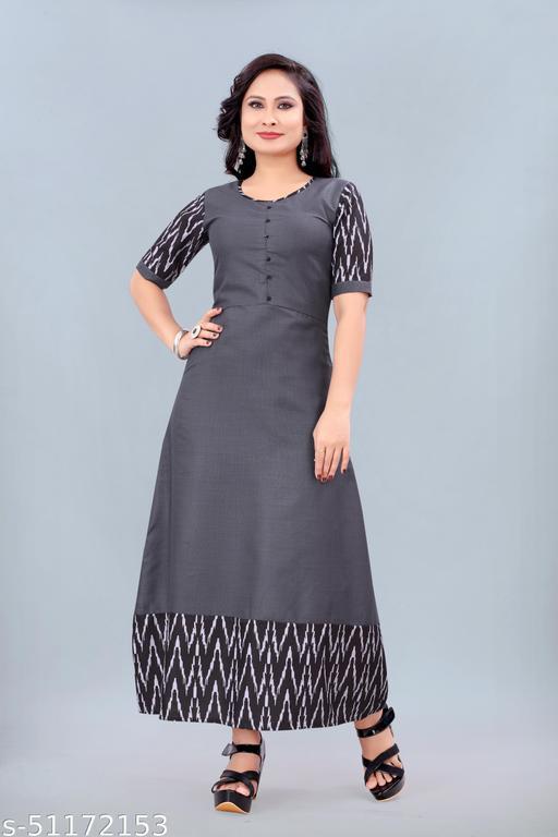 Women's Ikkat Printed Kurti (Grey)