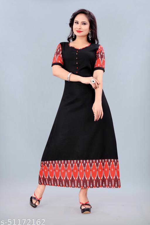 Women's Ikkat Printed Kurti (Black)