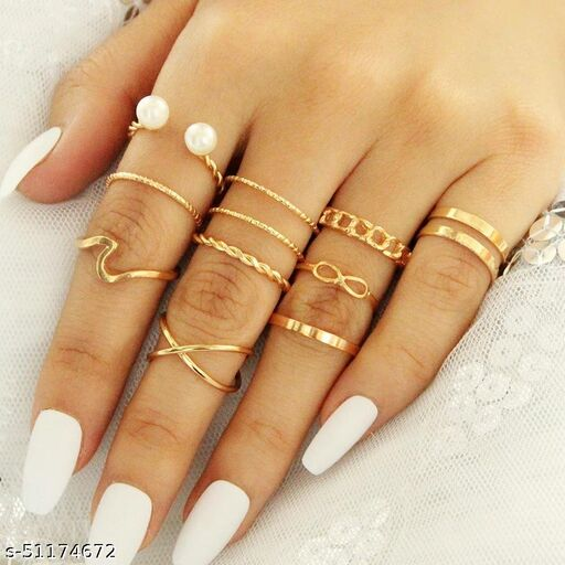 Gold Plated 10 Piece Cross Chain Pearl Ring Set For Women and Girls