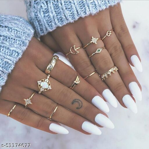 Gold Plated 12 Piece White Crystal Eye Moon Star Crown Multi Designs Ring Set For Women & Girls