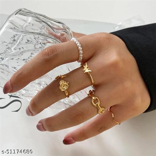 Gold Plated 5 Piece Butterfly Flower Pearl Chain Ring Set For Women and Girls