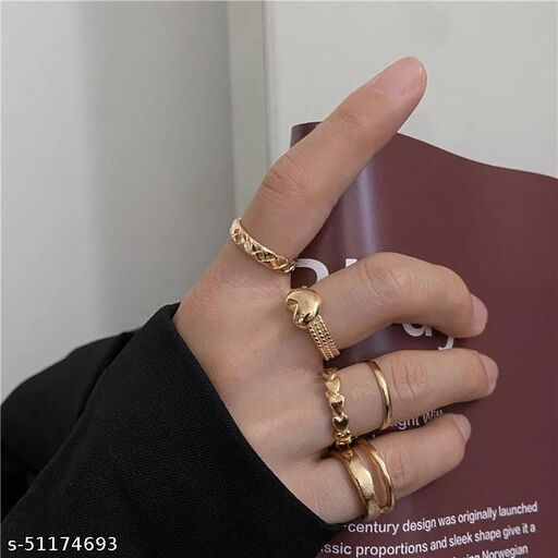 Gold Plated 6 Piece Ring Simple Heart Plain Set For Women and Girls