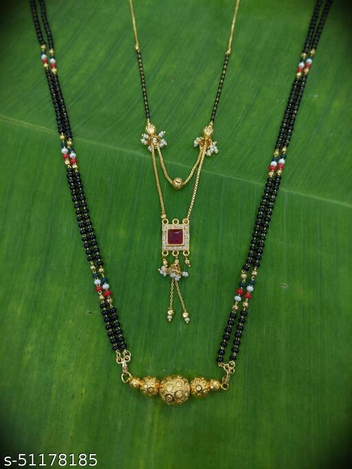 Combo offer (set of 2) Short Mangalsutra Designs (22 Inches) & Long Mangalsutra Designs (28 Inches) Gold Plated Red Stone in Square Shape Pendant with Moti Latkan Layered Pattern Black Beads New Mangalsutras Designs For Women