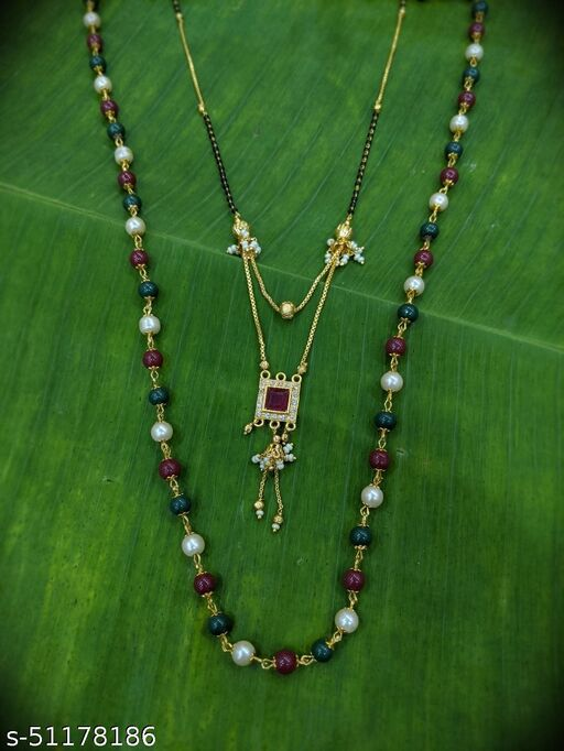 Combo offer (set of 2) Multi Color Moti Mala (24 Inches) & Short Mangalsutra Designs (22 Inches) Gold Plated Red Stone in Square Shape Pendant with Moti Latkan Layered Pattern New Mangalsutras Designs For Women