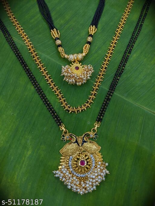 Combo offer (set of 3) Short Mangalsutra Designs (12 Inches) & Long Mangalsutras Designs Gold Plated Picock Design Pedant with Moti (32 Inches) & South Indian Style Designs (26 Inches) Traditional Wear New Mangalsutras Designs For Women