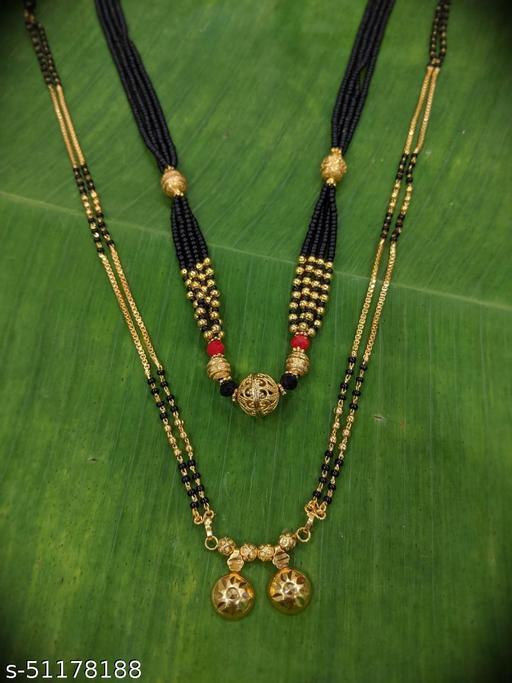 Combo offer (set of 2) Short Mangalsutra Designs (18 Inches) & Long Mangalsutras Designs (31 Inches) Gold Plated Latest Designs Round Fancy Ball Shape Pedant Black Gold Beads New Mangalsutras Designs For Women