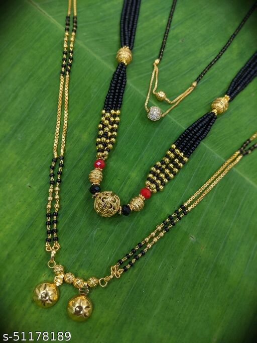 Combo offer (set of 3) Short Mangalsutra Designs (18 Inches) & Long Mangalsutras Designs Vati Pendant (31 Inches) Gold Plated Round Fancy Ball Shape Black Gold Beads Daily Wear New Mangalsutras Designs For Women