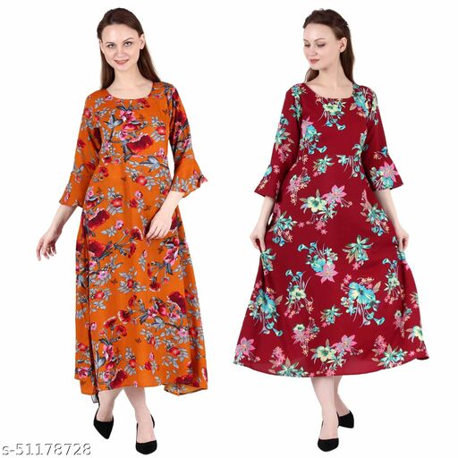 CINDERELLA THE CREATIONS FACTORY A Line Dress with Inner Cotton Lining Orange Printed and Maroon Prined Pack of 2
