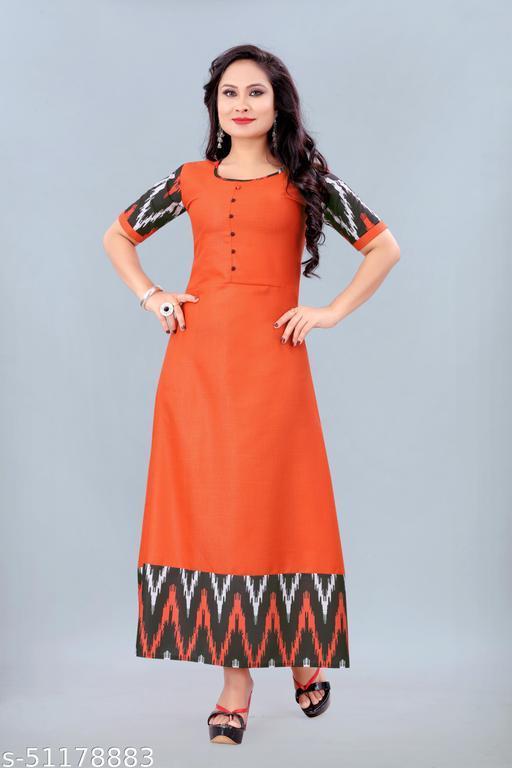 Women's Ikkat Printed Kurti (Orange)
