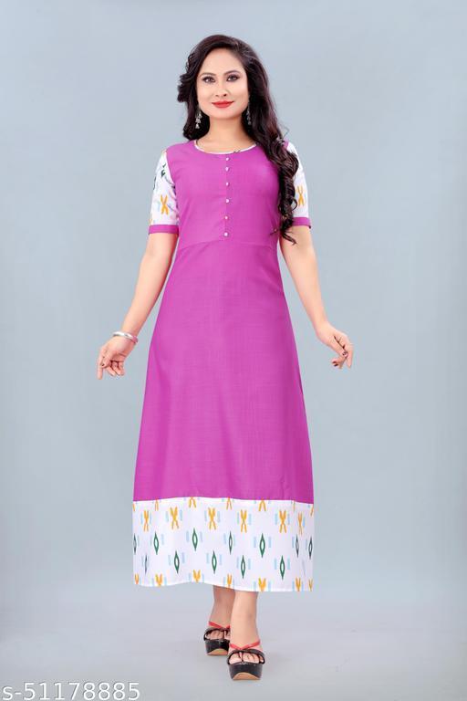 Women's Ikkat Printed Kurti (Pink)