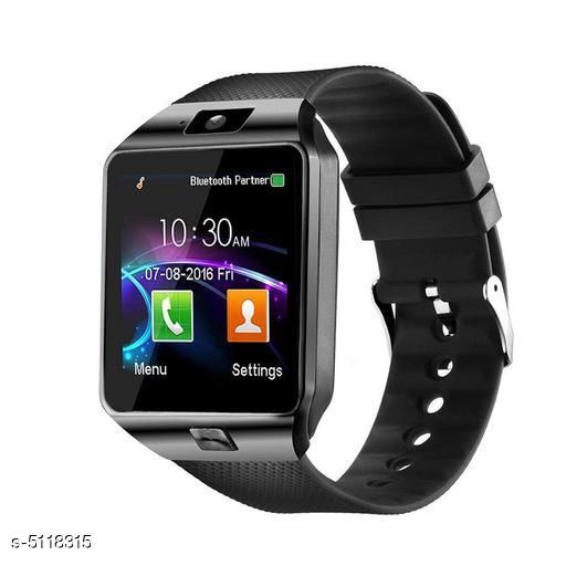 Smart watches Stylish Advanced Modern Smart Watch  *Product Type * Smart Watch  *Material * Dial- Stainless Steel , Strap- Flexible  *Size* Free Size  *HD display* High sensitive capacities touch screen; High sensitive capacities touch screen; perfect match technology  *The lost function* Seek mobile phone, Two-way anti-lost;  *Entertainment* MP3, MP4, Camera; Sync function  *Works on dual-mode* company mode in which make or receive calls & send or get message via Bluetooth and Network mode in which SIM card in inserted and call can be made via your network provider GSM 850/900/1800/1900 four frequency call function, hands-free, phone records, phone book, Bluetooth phone  *Note* This watch supports Android OS, Android phone's Bluetooth, APP download and connection  *Note* The customer has to insert sim card with 2G networks support  *Description* It Has 1 Piece Of Smart Watch  *Sizes Available* Free Size   Supplier Rating: ★3.5 (74) SKU: Doitshop_Bluetooth_Smart_Watch_with_SIM_and_Memory_Card_Support Free shipping is available for this item. Pkt. Weight Range: 200  Catalog Name: Stylish Advanced Modern Smart Watch Vol 25 - Asinternational@Fashion Code: 946-5118315--