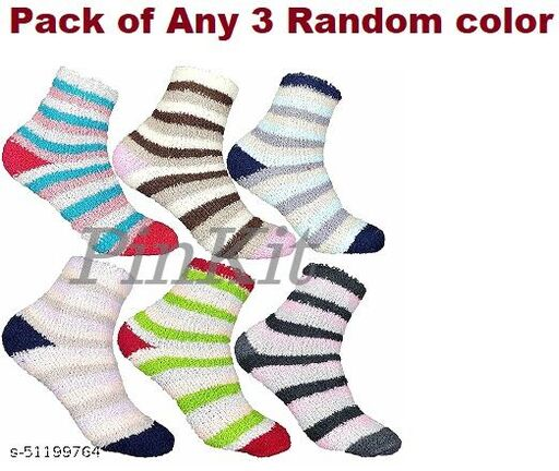3 Pairs Soft & Cozy Ladies Women Girls Fuzzy Socks Winter Warm Feather Socks (Without Thumb Socks) (Pack of Three Pairs) - Any 3 Coloured Socks