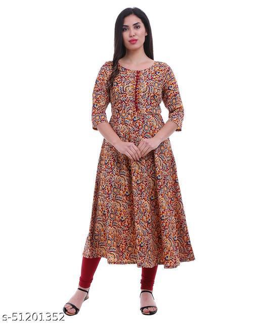 Women's Maroon Kalamkari Print Flared Yoke Design Anarkali Kurta