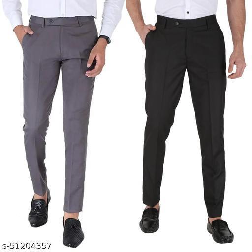 Combo Dark Grey :: Black Men's Stylish Formal Trousers For Men