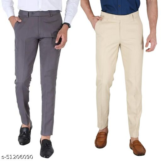 Combo Dark Grey :: Cream Men's Stylish Formal Trousers For Men