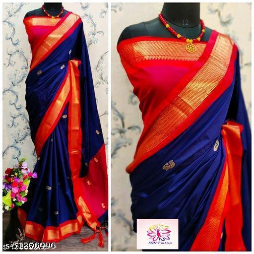 Blue and Red Pethni Cotton Silk Saree