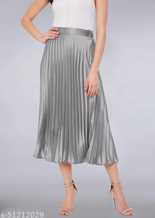 pleated satin westrn skirt
