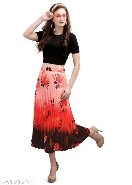 pleated printed westrn skirt