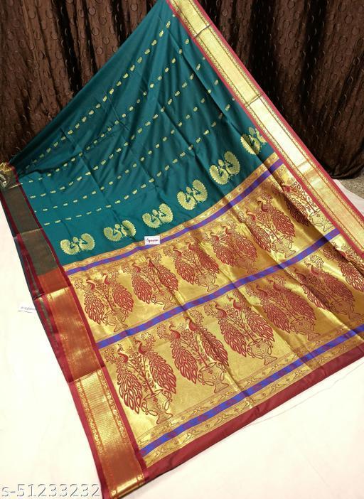 Spewim Womens PolySilk Zari Work Design Saree 6 Yards With Blouse Piece(Hal. Dubble Mor. 6Mtr (4) Morpankhi+Maroon)