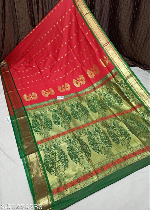 Spewim Womens PolySilk Zari Work Design Saree 6 Yards With Blouse Piece(Hal. Dubble Mor. 6Mtr (9) Red+Green)