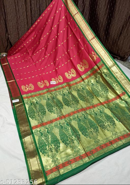 Spewim Womens PolySilk Zari Work Design Saree 6 Yards With Blouse Piece(Hal. Dubble Mor. 6Mtr (16) DarkRed+Green)