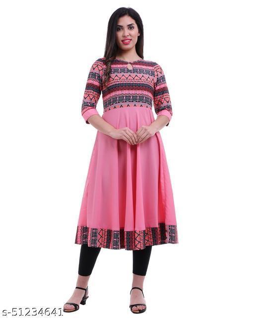 Women's Flared Printed Pink Anarkali Kurti