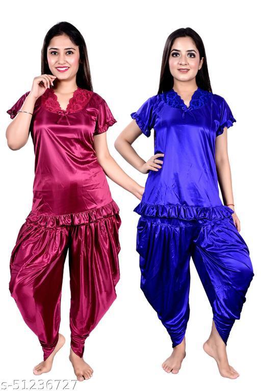 Blue Sea Women Satin Fabric Trending Nightsuit Night Dress in Dark Pink & Blue Color Pack of 2