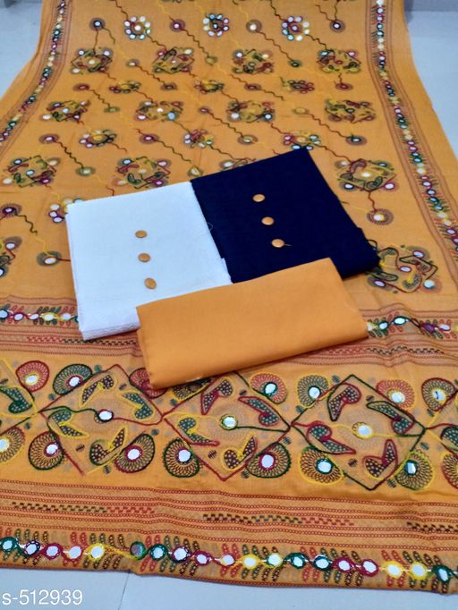 Chikankari Ethnic Motif Cotton Suits with Show Button - 2 Top