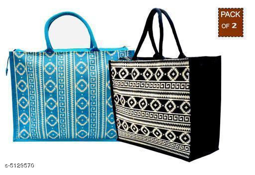 Trendy Women's Blue Jute Handbag