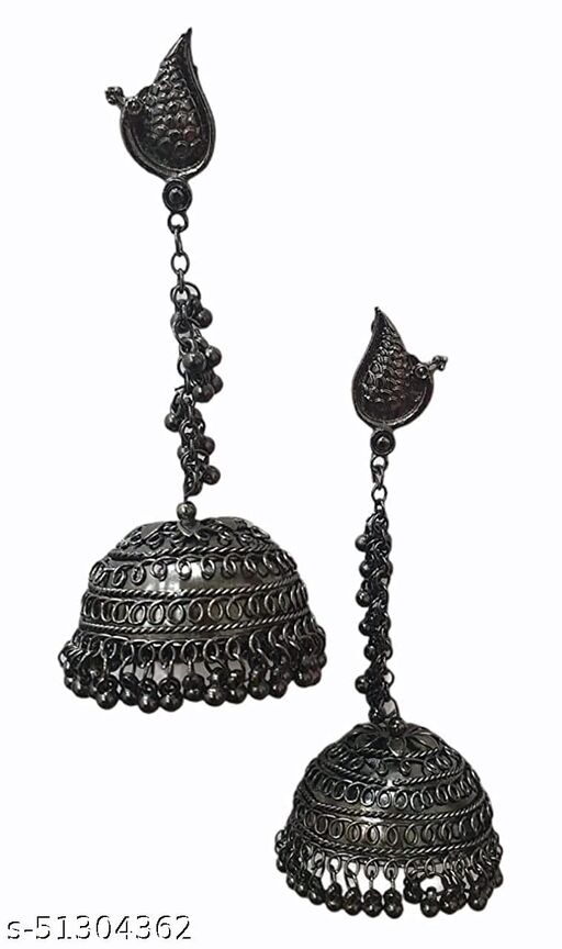 Black Peacock Designer Traditional Oxidized  Afghani Style Big Black Jhumki Earrings for Women and Girls